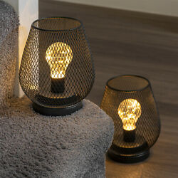 Set of 2 Metal Cage Table Lamps Battery Powered Cordless Accent LED Lights GBP 24.95