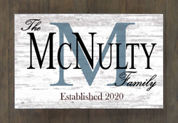 Custom Family Name Established Sign Personalized Rustic Home Decor Wedding Gift $39.99