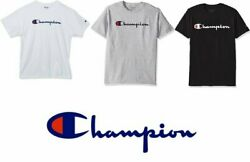 Champion Men#x27;s T Shirt Authentic Classic Script Logo Jersey Cotton Athletic Fit $16.90
