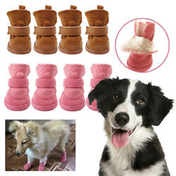 Winter Small Dog Plush Boots Booties Snow Protective Pet Shoes Anti Slip Set US $7.99