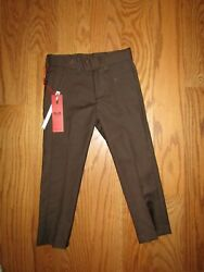 Elie Balleh Designer Boys Flat Front Brown Dress Pants Size 4 Slacks Dressy