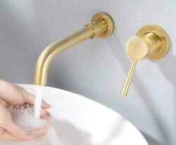Wall Mount Hot Cold Swivel Spout Mixer Brass Bathroom Basin Sink Faucet Gold Tap $152.99