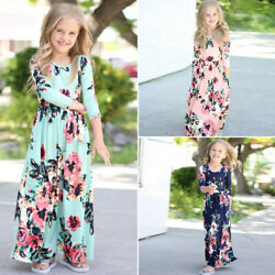 Long Sleeve Floral Maxi Dress Inafant Outfit Boho Party Dresses Kids Girls $14.96