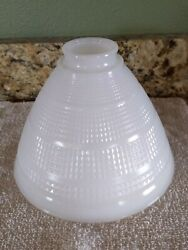 "Vtg 8"" White Milk Waffle Pattern Torchiere Glass Lamp Shade Replacement MCM $36.26"