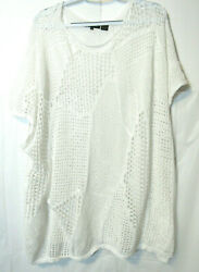 Women#x27;s Long Top Or Cover Up Lace Crochet XL 1X Wht Short Sleeves Jeanne Pierre $17.29