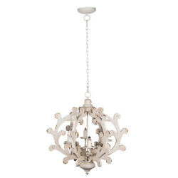 4 Light Vintage White Chandelier French Country Candle Pendant Fixtures Home E12 $209.99