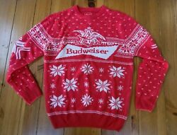 NWT BUDWEISER Men#x27;s LARGE Holiday Party Ugly Christmas Sweater $24.95