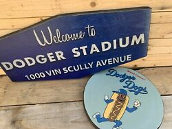 Rustic Style 12quot; Dodger Dogs and Dodger Stadium Vin Scully 24quot; Wooden Sign Combo $69.00