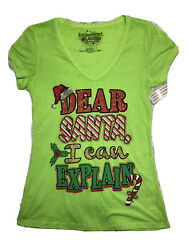 Rocker Girl Christmas Holiday Women#x27;s Medium TShirt Dear Santa I Can Explain $17.99