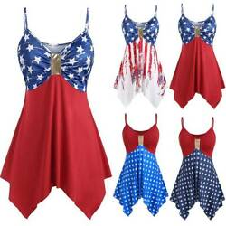 Women Irregular Strappy Mini Dress Party Evening Sundress For Independence Day * $20.49