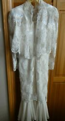 VINTAGE LONG LACE FORMAL OR MOTHER OF THE BRIDE DRESS WORN ONCE $12.99