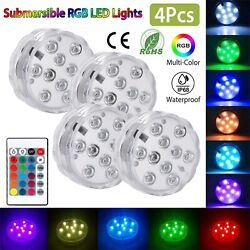 4PCS Submersible RGB LED Lights Underwater Battery Operated Remote Control $15.35