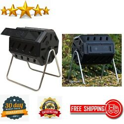 Outdoor Tumbling Composter 8 Sided Dual Chamber Durable Garden 37 Gallon Black $117.55