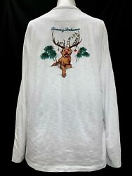 Tommy Bahama Men#x27;s Christmas Dog Long Sleeve Embroidered T Shirt White Size XS $24.99