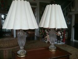 Pair Of Glass Lamps With Floral Cut Out Shades Large Beautiful Rare Shades $126.00