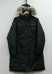 The North Face Long Down Insulated Parka Jacket Womens Large Black Fur Hood TNF $49.99