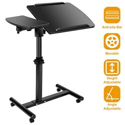 Rolling Height Angle Adjustable Laptop Desk Overbed Sofa Food Tray Table Stand $40.68