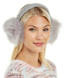 Michael Kors Faux Fur Earmuffs Knit Headband with Metal Logo GRAY $24.99