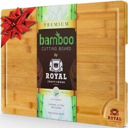 Large Bamboo Kitchen Cutting Board Wood Chopping Board Butcher Block 18x 12 $19.98