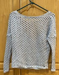 One Grey Day Womens Boat Neck Backless Long Sleeve Crocheted Sweater Gray XS $18.99