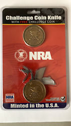 NEW NRA Coin Knife 1 7 8quot; Bronze Antique with Free Challenge Coin 94015 $39.99