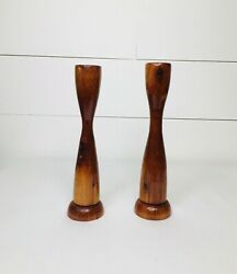 Vintage Set Of 2 Wooden Tall Candle Holders Brown $29.99