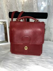 Coach Vintage Leather Station Bag 5130 RED With brass Crossbody Satchel USA $99.00