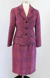 Talbots Womens Pink Multi Color Tweed Skirt Suit Set Size 10P Wool Mohair $44.99