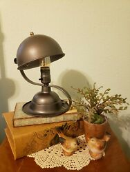 Restored Vintage Desk or Table Lamp with Unique Helmet Shaped Lamp Shade $125.00