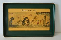 Vintage Metal Tray Dog quot;Parade to the Postquot; Comic Canine Decor GiftHorse CA $60.00