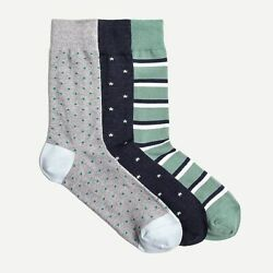NWT J.Crew Men#x27;s Mini star socks three pack M2729 $28.95