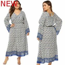 Cocktail V Neck Long Sleeve Plus Size Floral Maxi Dress Casual Oversized Evening $21.03