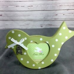 Botanical Gardens Green Polka Dot Wooden Bird Picture Frame Small Bins23 $18.36