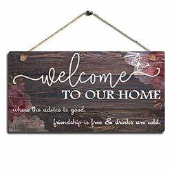 Vintage Home Decor Sign Welcome To Our Home Wall Art Sign Sign Size 11.5quot; x 6quot; $17.74