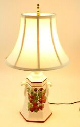 Vintage Urn Style Strawberry Lamp Floral Red Trim w used bulb and Shade 24quot; T