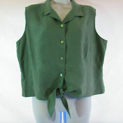 Tori Richards Harley Womens SZ XL Sage Sleeveless Crop Top Button Down Tie Waist $22.00