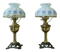 F50777EC: Pair Brass Oil Lamp Style Table Lamps w. White Shades $365.00