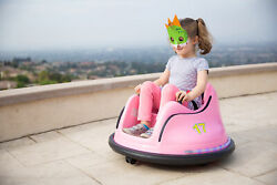 Kids ASTM Certified Electric 6V Ride Bumper Car W Remote Control 360 Spin Pink $184.95
