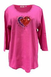 QUACKER FACTORY Bling in the Holidays Heart 3 4 Sleeve T Shirt Pink $15.99