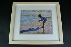 Boy At The Beach Picking Up Seashells 15.5 x 13.5 In Signed Print Framed Art Mat $2.49