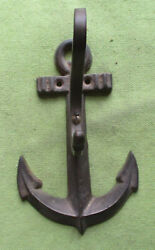 BRASS ANCHOR HANGER ANTIQUE FOR COAT OR HAT 5 3 4 X 3 3 4 INCHES NAUTICAL $18.00