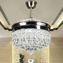 42quot; Crystal Ceiling Fan Lamp Invisible LED Chandelier Fixtures Lighting 3 color $182.05