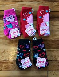 Moret LOVE Girls#x27; Valentine Novelty Knee High Socks 5 Pairs Variety Sz 6 8.5 $12.99