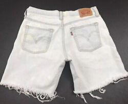 Levis 501 CT Womens Cut Off Jean Shorts Size 27 Button Fly Distressed $22.99