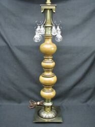 Tall 52quot; Mid Century Lotus Stiffel Floor Lamp with 12 Crystals Turned Wood $395.00