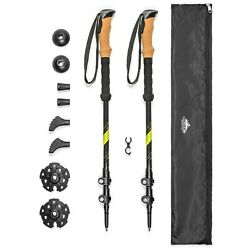 Cascade Mountain Tech Trekking Poles Carbon Fiber Walking or Hiking Sticks ... $57.25