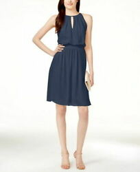 Adrianna Papell Cocktail Chiffon Blouson Halter Dress Size 8 Blue MSRP $189.00 $34.99