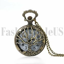 Retro Vintage Tree of Life Steampunk Quartz Pocket Fob Watch Chain for Men Women $7.99