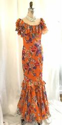 RALPH LAUREN VINTAGE PURPLE LABEL FLORAL ORANGE RUFFLED FLAMINGO RUNWAY DRESS