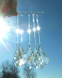 "Acrylic Chandelier Prisms Lot Of 5 Lamp Light Fixture Faceted Crystals 6 1 4"" $4.99"